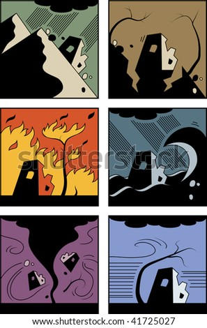 Vector set of six abstract pictures of natural disasters: landslip, earthquake, wildfire, flood, twister, and windstorm - stock vector