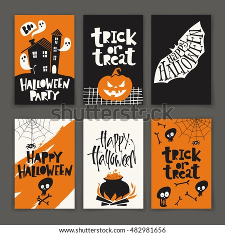 Vector set of six cartoon style Halloween poster designs with halloween symbols and calligraphy. Funny halloween card. Party invitation design.