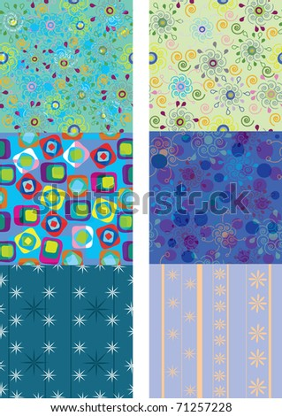 Vector set of six colorful seamless pattern - stock vector