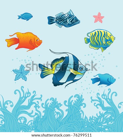 Vector set of six colorful tropical fishes and two starfishes  above water plant