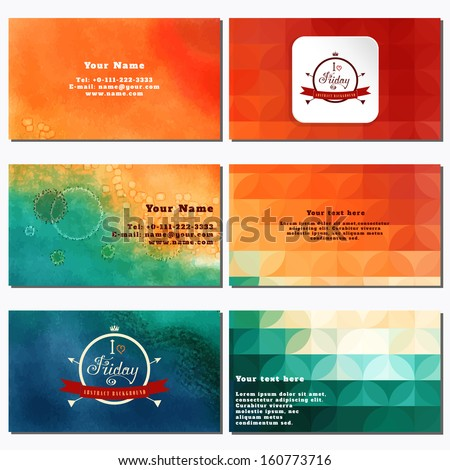 Vector set of six horizontal business cards. Multicolored watercolor and shapes. Beautiful inscription in retro style - I love Friday. Place for your text. Complied with the standard sizes - stock vector