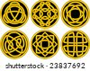 Vector set of six individual celtic knot work buttons in gold and black - stock vector