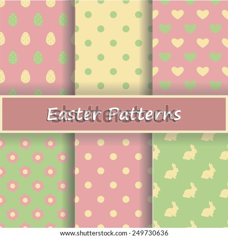 Vector set of six seamless Easter patterns. Each pattern is on a separate layer for easy editing. The drop shadows are on separate layers too, so they are easy to remove.  - stock vector
