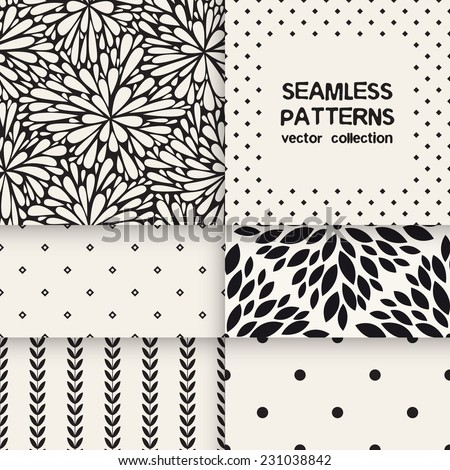Vector set of six seamless patterns. Floral and polka dots repeating backgrounds. Monochrome collection - stock vector