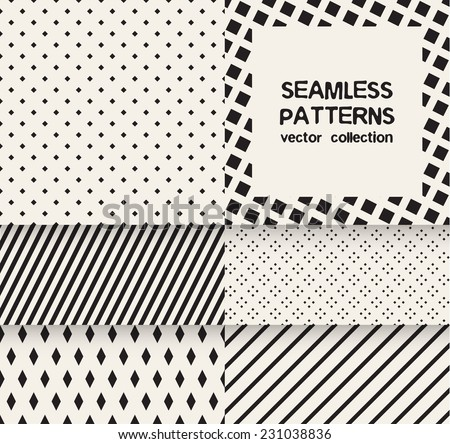 Vector set of six seamless patterns. Monochrome geometric patterns. Simple striped textures, backgrounds with rhombuses and squares - stock vector