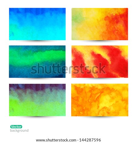 Vector set of six watercolor  abstract hand drawn background,vector illustration, stain watercolors colors wet on wet paper. Watercolor composition for scrapbook elements