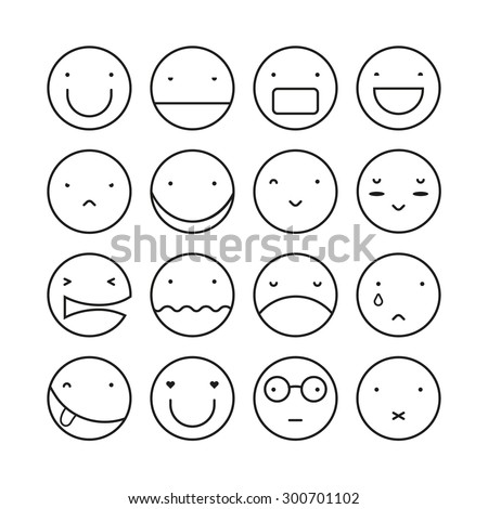 Vector set of sixteen smile faces. Modern and stylish icon. Circle shape. - stock vector