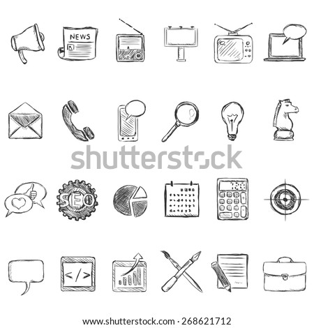 Vector Set of Sketch Advertising Icons. Types of Advertisement. - stock vector