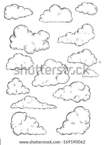 vector set of sketch clouds - stock vector
