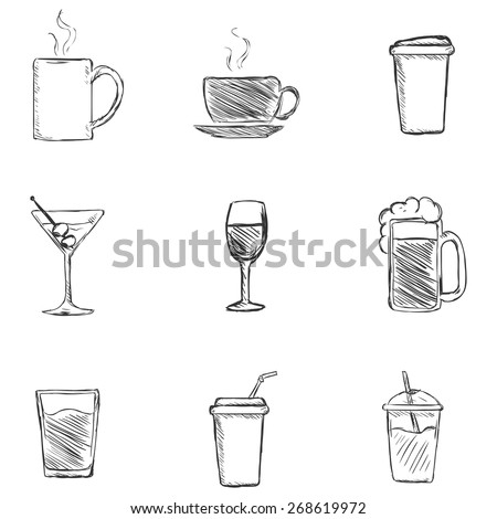Vector Set of Sketch Drinks Icons. Tea, Coffee, Alcohol, Martini, Wine, Beer, Mineral Water, Fizzy Water, Smoothie, Cocktail. - stock vector