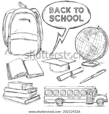 Vector Set of Sketch Education Objects. Back to School - stock vector