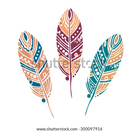 vector set of 3 sketch feather - stock vector