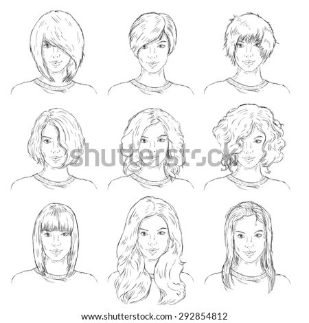 Vector Set of  Sketch Female Faces. Types of Women Hairstyles. - stock vector