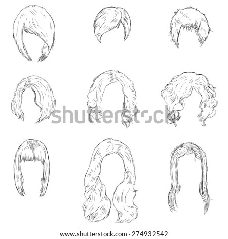 Vector Set of Sketch Female Hairdress. Types of Women Hairstyles. - stock vector