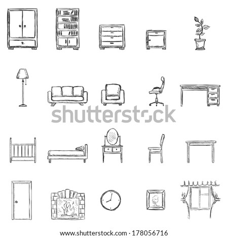 Vector Set Of Sketch Furniture Icons - stock vector