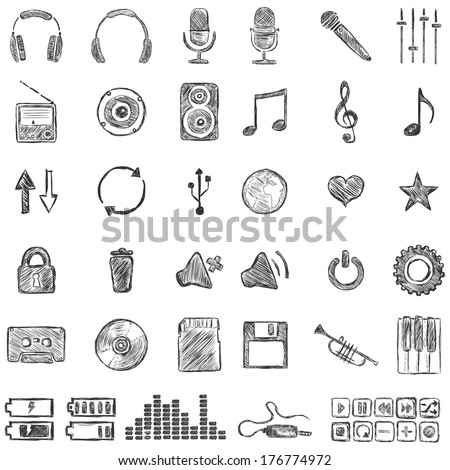Vector Set of Sketch Music icons - stock vector