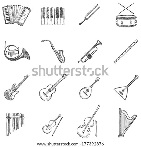 Vector Set of Sketch Musical Instruments Icons - stock vector