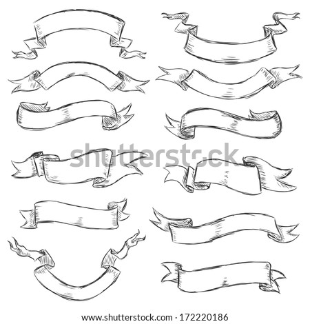 vector set of sketch ribbons - stock vector