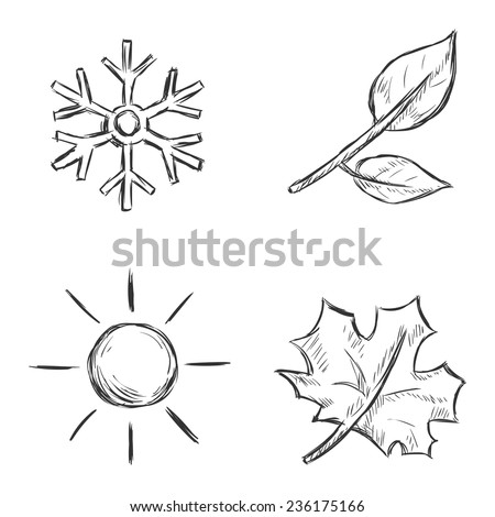 Vector Set of Sketch Season Icons - stock vector