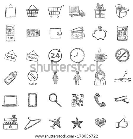 Vector Set Of Sketch Shopping Icons - stock vector