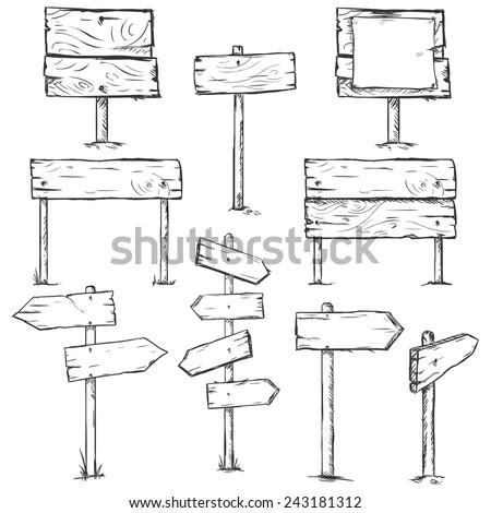 Vector Set of Sketch Signposts - stock vector