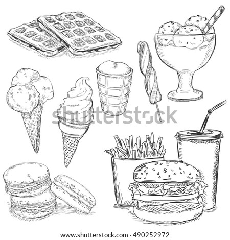 Vector Set of Sketch Snack Items. Fast Food, Drinks, Desserts and Ice Cream.