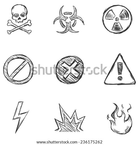 Vector Set of Sketch Warning  Icons - stock vector