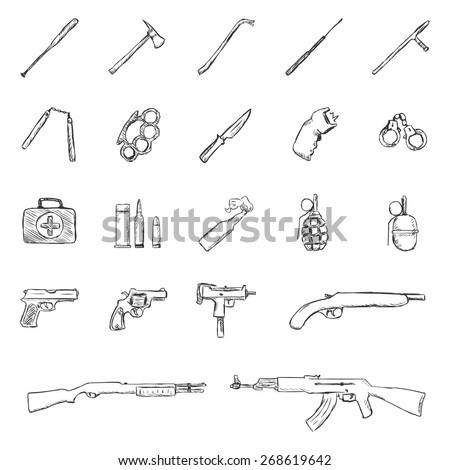 Vector Set of Sketch Weapon Icons.baseball Bat, Crowbar, Telescopic Baton, Nunchaku, Brass Knuckles,Knife, stun gun, Handcuffs, First Aid kit,  Grenade, Pistol, Revolver, Ingram, Shotgun, AK-47. - stock vector