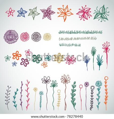 Vector set of sketched garden flowers - stock vector