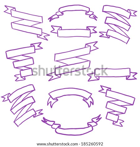 Vector set of sketchy hand drawn doodle ribbons - stock vector