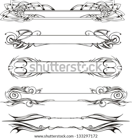 Vector set of slim decorative panels