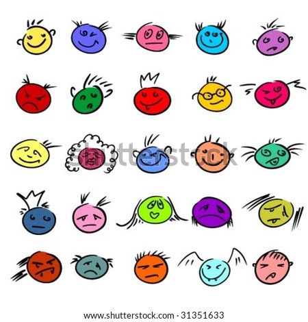 Vector set of smiles - stock vector
