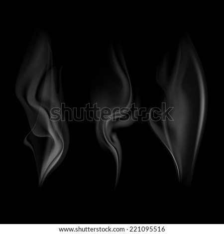 Vector set of smoke. isolated on a black background - stock vector