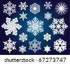 vector set of snowflakes - stock vector