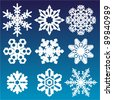 vector set of snowflakes - stock vector