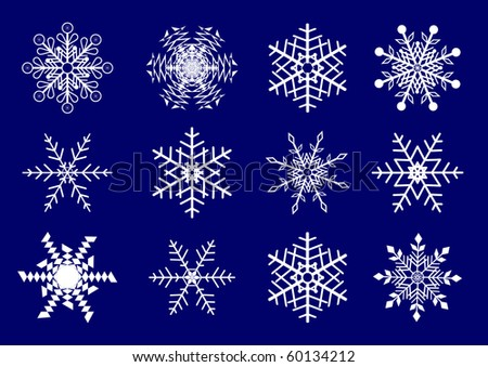 Vector set  of snowflakes.