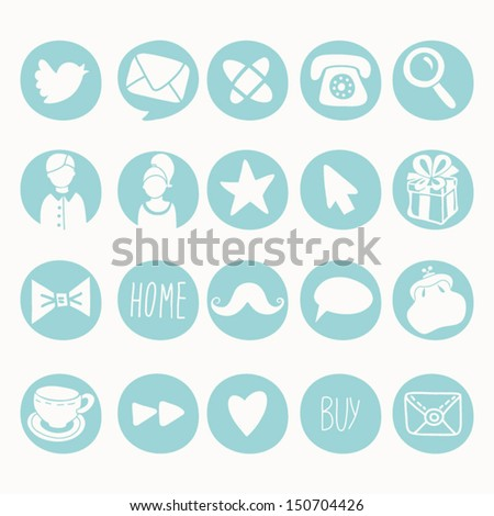 Vector Set of Social Icons 1. - stock vector
