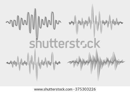 Vector set of sound waves. Music waves icons. Audio equalizer technology. Vector illustration. - stock vector