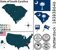 Vector set of South Carolina state with flag and icons on white background - stock vector