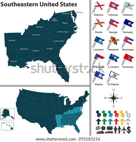 South Florida Map Stock Images RoyaltyFree Images Vectors - Map highlighted southeast us