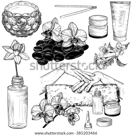 Vector set of spa and manicure illustrations, Beauty and health care sketch  - stock vector