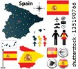 Vector set of Spain country shape with flags and icons isolated on white background - stock photo