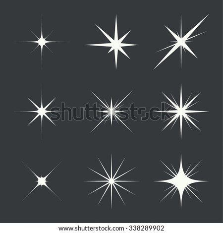 Vector set of sparkle lights stars. Stars with rays, explosion, fireworks. dark background - stock vector
