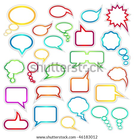 Vector set of speech bubbles and thought clouds used to indicate communication and dialog. JPG and TIFF versions of this image are also available in my portfolio. - stock vector