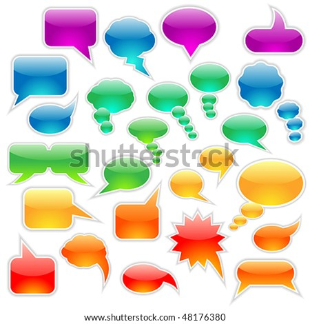Vector set of speech bubbles and thought clouds used to indicate communication and dialog. JPG and TIFF versions of this illustration are also available in my portfolio. - stock vector