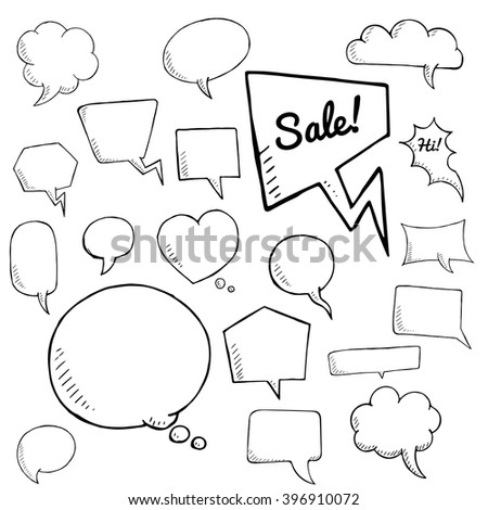 vector set of speech bubbles, group of doodle speech bubble on white background - stock vector