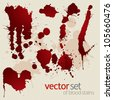 Vector set of splattered blood stains - stock photo