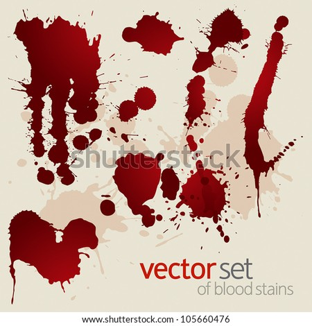 Vector set of splattered blood stains - stock vector