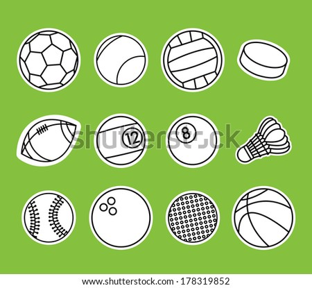 vector set of sport balls - stock vector