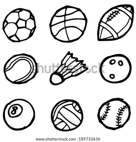 vector set of sport equipment - stock vector
